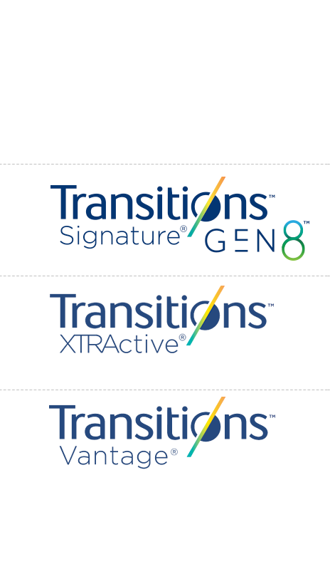 Transitions Signature logo. Transitions XTRActive logo. Transitions Vantage logo.